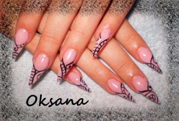 Дизайн ногтей с китайской росписью фото